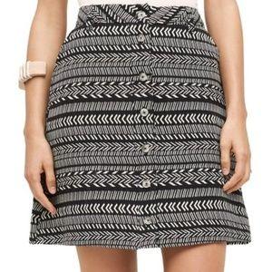 Anthropologie Maeve Tribal Pattern Buttoned Skirt